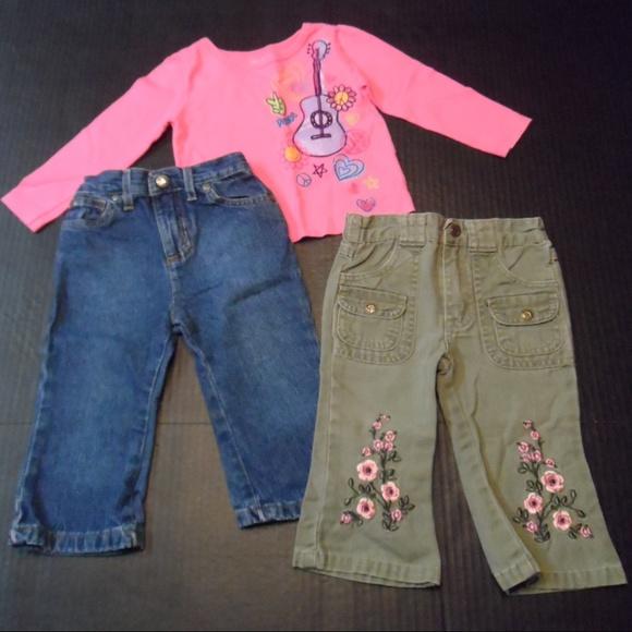 a23996d0e5aa8 Baby Girl Lot 3 Jeans Pants Shirt Top sz 12 mo's